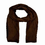 Designer Crush Diamond Studded Stole - Syrup Brown