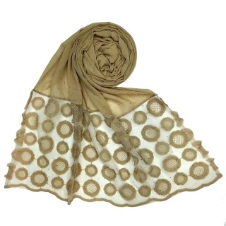 Designer Flower Diamond Studded Stole- Brown
