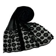 Designer Flower Diamond Studded Stole- Black