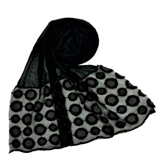 Designer Flower Diamond Studded Stole- Black