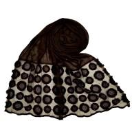 Designer Flower Diamond Studded Stole- Chocolate Brown