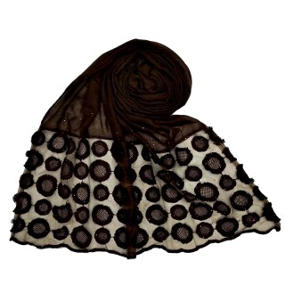 Designer Flower Diamond Studded Stole- Chocolate Brown