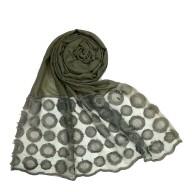 Designer Flower Diamond Studded Stole- Grey color