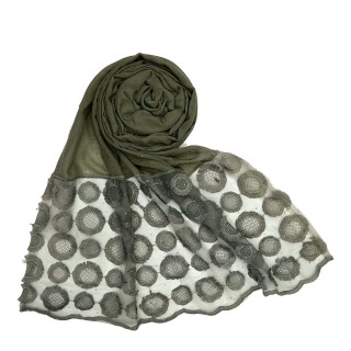 Designer Flower Diamond Studded Stole- Grey color