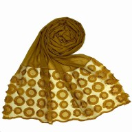Designer Flower Diamond Studded Stole- Yellow