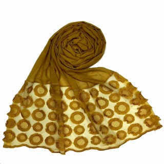 Designer Flower Diamond Studded Stole- Yellow