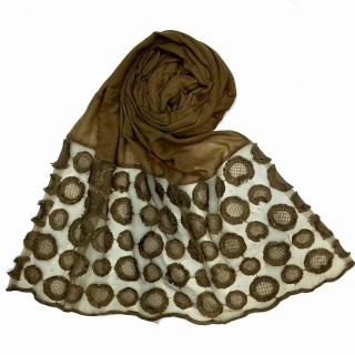 Cotton Flower Diamond Studded Stole- Brown