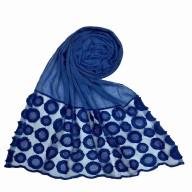Designer Flower Diamond Studded Stole- Blue
