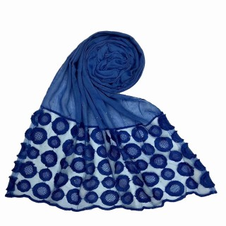 Designer Flower Diamond Studded Stole- Blue