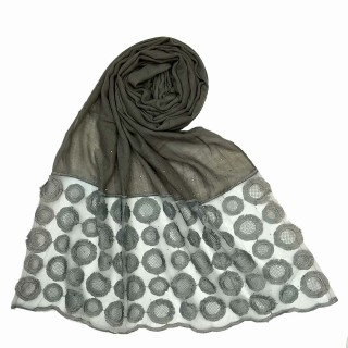 Cotton Flower Diamond Studded Stole- Grey
