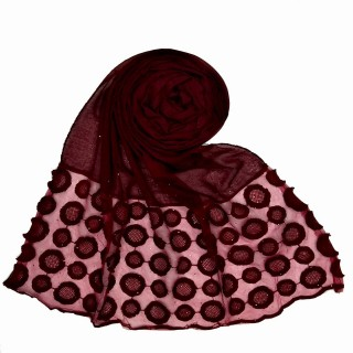 Designer Flower Diamond Studded Stole- Maroon