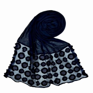 Designer Flower Diamond Studded Stole- Dark Blue