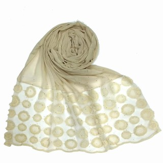 Designer Flower Diamond Studded Stole- Cream color