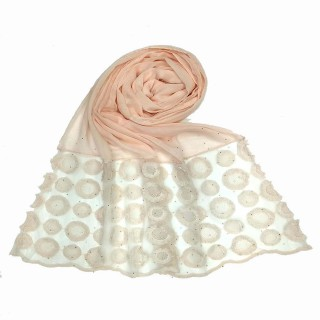 Designer Flower Diamond Studded Stole- Pink