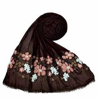 Designer flower printed cotton stole- Brown