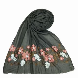 Designer flower printed cotton stole- Grey