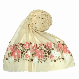 Designer flower printed cotton stole- Creamish White