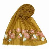 Designer flower printed cotton stole- Yellow