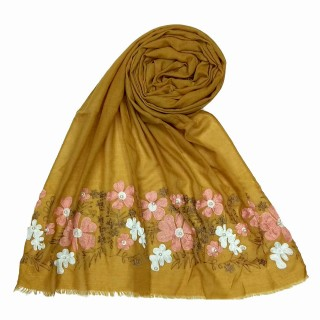 Designer flower printed cotton stole- Yellow