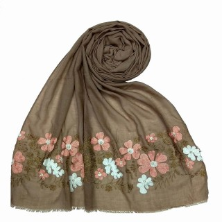 Floral embroidery cotton stole- Brown