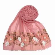 Designer flower printed cotton stole- Pink