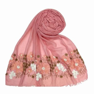 Designer flower printed cotton stole- Pink