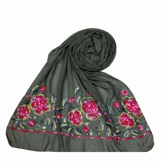 Floral embroidery cotton stole- Grey