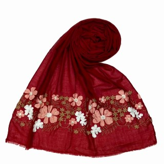 Floral embroidery cotton stole- Maroon