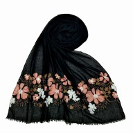 Floral embroidery cotton stole- Black