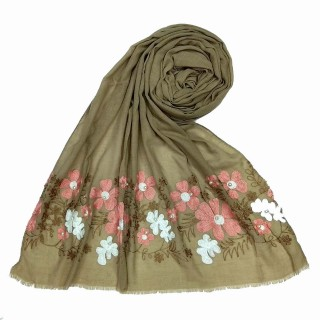 Floral embroidery cotton hijab- Brown