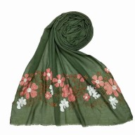 Floral embroidery cotton hijab- Green