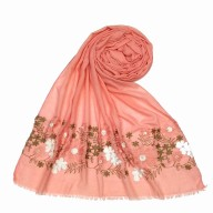 Floral embroidery cotton stole- Pink