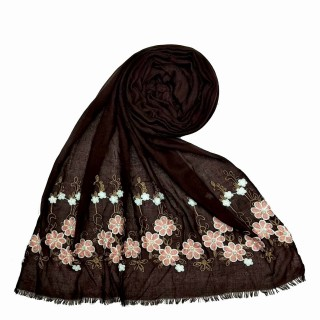 Flower printed embroidery cotton stole- Dark Brown