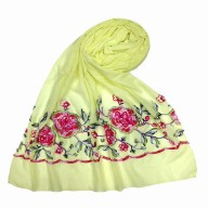 Flower printed embroidery cotton stole- Light-Yellow