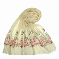Flower printed embroidery cotton stole- White