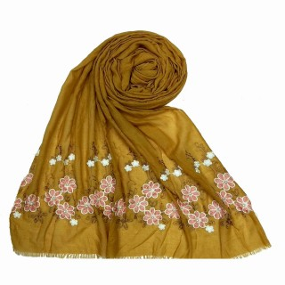 Flower printed embroidery cotton stole- Mustard-Yellow