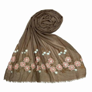 Flower printed embroidery cotton stole- Brown