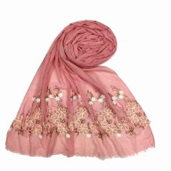 Flower printed embroidery cotton stole- Pink