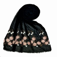 Flower printed embroidery cotton stole- Black