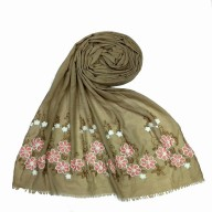 Flower printed embroidery cotton stole- Light Brown