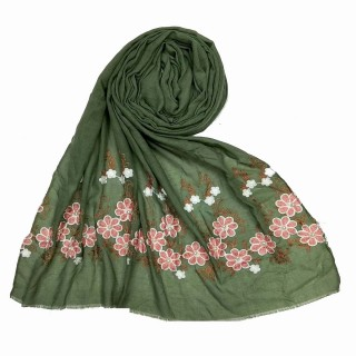 Flower printed embroidery cotton stole- Green