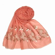Flower printed embroidery cotton stole- Coral Pink
