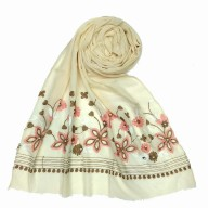 Flower printed embroidery cotton stole- Ivory White