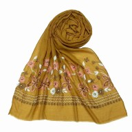 Flower printed embroidery cotton stole- Yellow