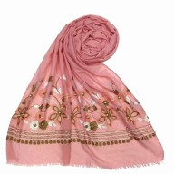 Flower printed embroidery cotton stole- Baby Pink