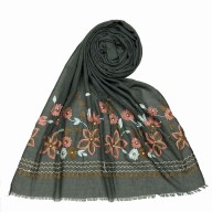 Flower printed embroidery cotton stole- Grey