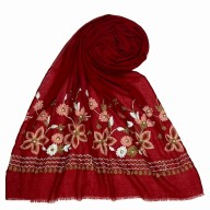 Flower printed embroidery cotton stole- Maroon