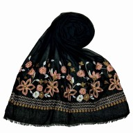 Flower printed embroidery cotton stole- Coal Black