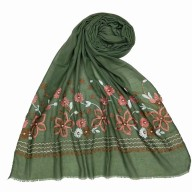 Flower printed embroidery cotton stole- Light Green