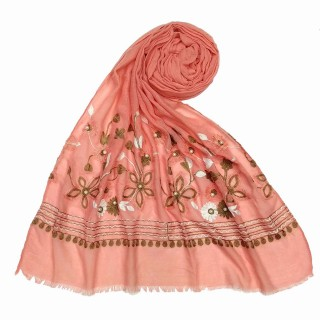 Flower printed embroidery cotton stole- Peach Pink